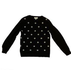 ELLE™ Black Glitter Dot Crewneck Sweater-M